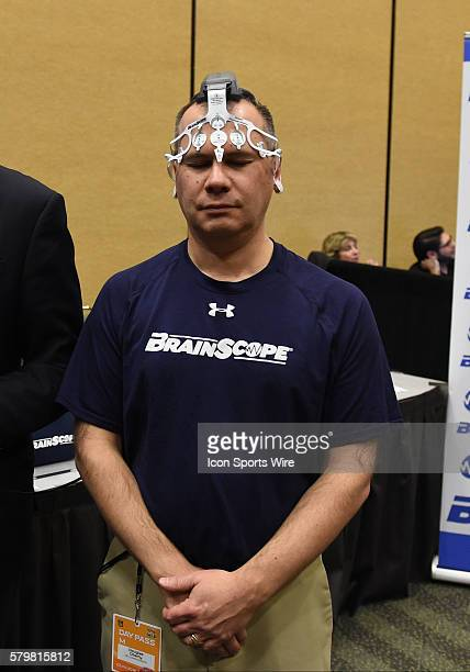 The Ahead electro headset by the BrainScope company for comprehensive TBI and Concussion assessment being demonstrated during the Health Safety...