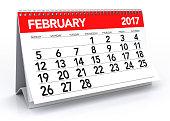 February 2017 Calendar. Isolated on White Background. 3D Illustration
