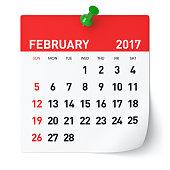 February 2017 - Calendar. Isolated on White Background. 3D Illustration