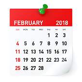 February 2018 - Calendar. Isolated on White Background. 3D Illustration
