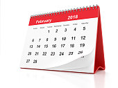 2018 February page of a desktop calendar on white background. 3D Rendering.