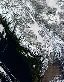 February 21, 2010 - True-color view of fog and snow in British Columbia.