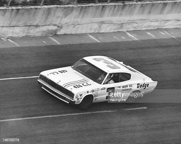 Tiny Lund wheels Dave Freer's 1966 Dodge Charger on the high banks of Daytona International Speedway during the Permatex 300 NASCAR Late Model...
