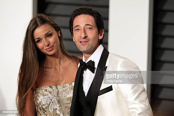 February 22 Beverly Hills Ca Actor Adrien Brody and Lara Leito arrive at the 2015 Vanity Fair post Oscar party at Wallis Annenberg Center for the...