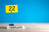 February 22nd. Day 22 of february month, calendar on little tag at blue background. Winter time. Empty space for text, mockup.