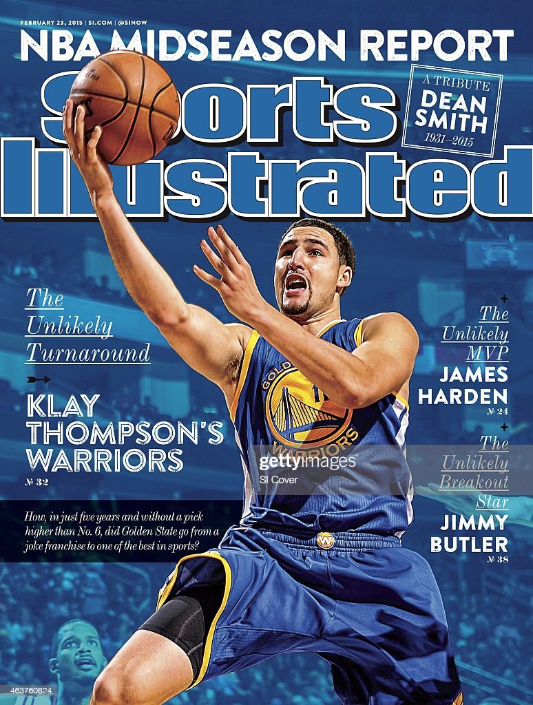 February 23 2015 Sports Illustrated Cover Golden State Warriors Klay Thompson in action layup vs Houston Rockets at Toyota Center Houston TX CREDIT...