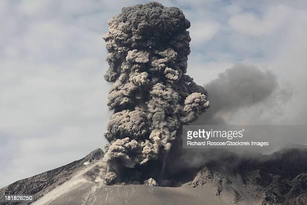 February 25, 2013 - Explosive eruption of Sakurajima volcano, Japan. Ash column rising from Showa crater.