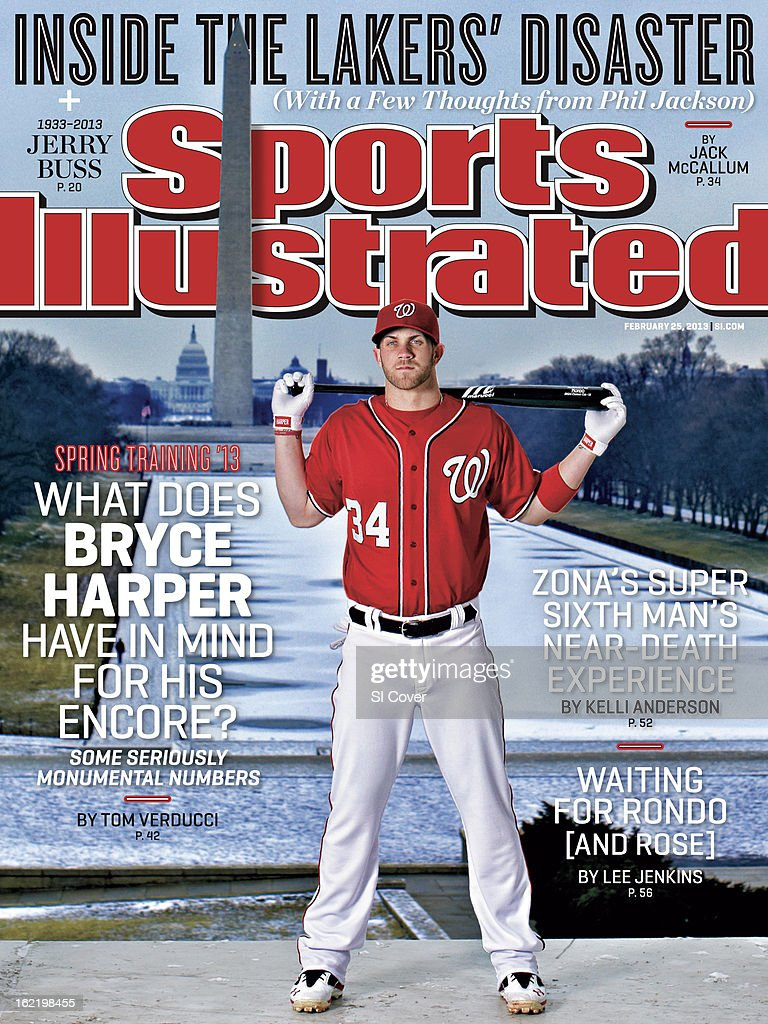 February 25, 2013 Sports Illustrated Cover: Portrait of Washington Nationals outfielder Bryce Harper (34) during photo shoot at the Lincoln Memorial. View of Washington Monument and Reflecting Pool on the National Mall in the background. Simon Bruty F85 )