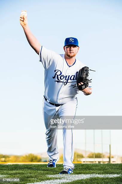 Pitcher Brooks Pounders poses for a portrait during the Kansas City Royals photo day in Surprise Ariz