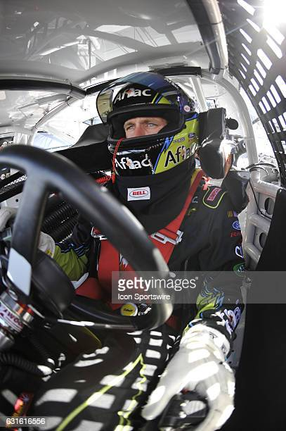 Carl Edwards Roush Fenway Racing Ford Taurus prior to qualifying for the Shelby 427 Sprint Cup Series practice at Las Vegas Motor Speedway in Las...