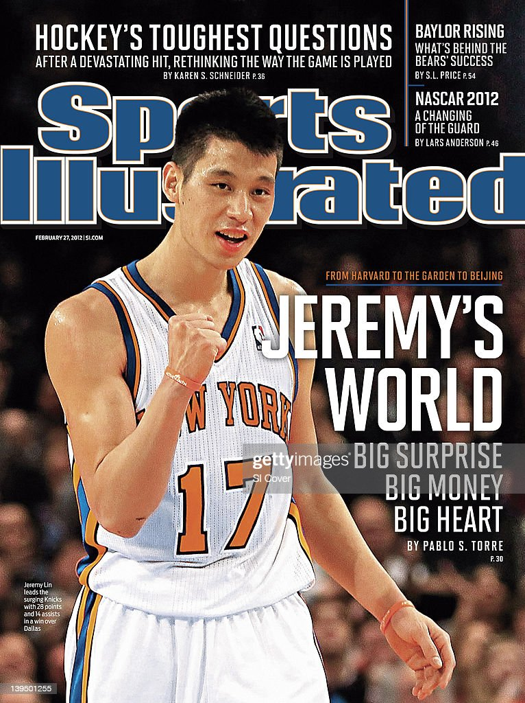 February 27 2012 Sports Illustrated Cover New York Knicks Jeremy Lin victorious during game vs Dallas Mavericks at Madison Square Garden New York NY...