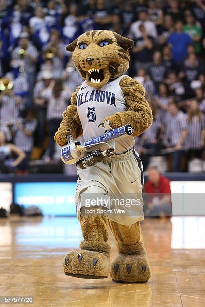 WilDCat the Villanova Mascot fires tshirts into the stands with an air cannon during a timeout in a Big East game against the Xavier Musketeers at...
