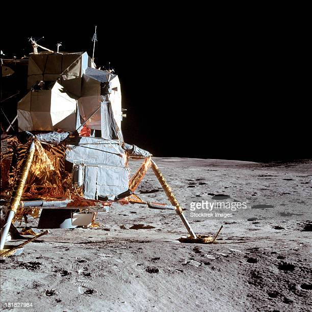 February 5, 1971 - View of the Apollo 14 Lunar Module (LM) on the moon, as photographed during the first Apollo 14 extravehicular activity (EVA) on the lunar surface.