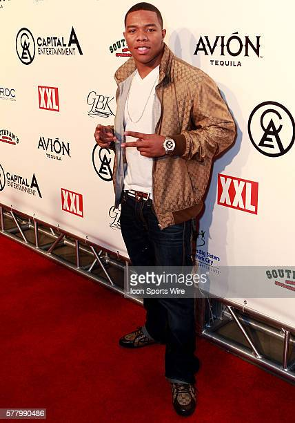 Baltimore Ravens running back Ray Rice walks the red carpet before the Diddy Pre Super Bowl XLV party at the Tower Building in Dallas Texas
