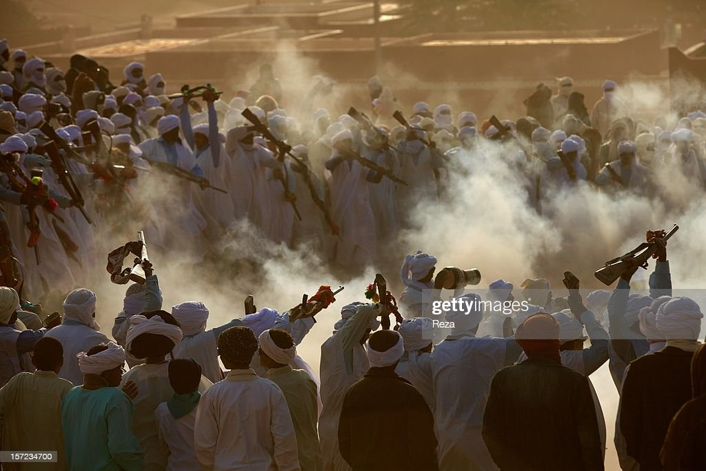 February 5th, 2012, village of Oued Bou Ali near Timimoun, Algeria. In the village of Oued Bou Ali, near Timimoun, villagers and Tuareg have came as families from the surroundings villages and encampments, to celebrate 'Mawlid el nabawi', the birth of the prophet Mohammed.