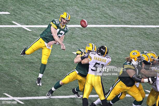 Green Bay Packers quarterback Aaron Rodgers during the Green Bay Packers victory over the Pittsburgh Steelers by the score of 3125 in Super Bowl XLV...