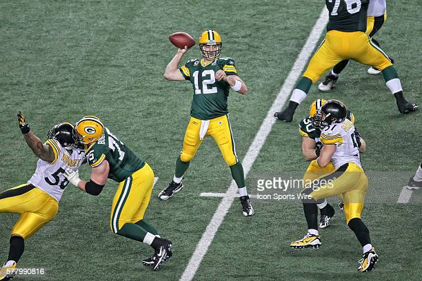 Green Bay Packers quarterback Aaron Rodgers gets ready to throw the football during the Pittsburgh Steelers game versus the Green Bay Packers in...