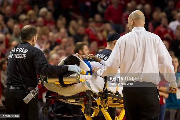 Nebraska Cornhuskers forward Shavon Shields being taken to the hospital after a bad fall and hitting his head on the floor durinbg the second half in...