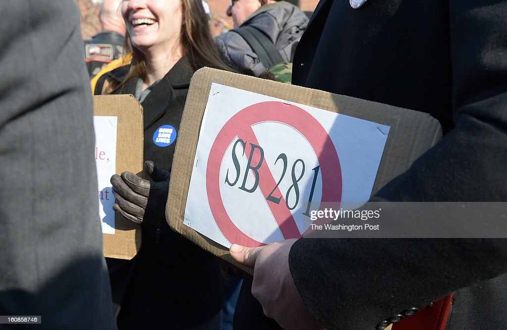 A sign opposing Senate Bill 281 at the rally at Lawyers Mall in front of the Maryland State House while the Judicial Proceedings Committee holds a hearing on Senate Bill 281- Firearm Safety Act of 2013 in the Senate office buildings on February 6, 2013 in Washington, DC