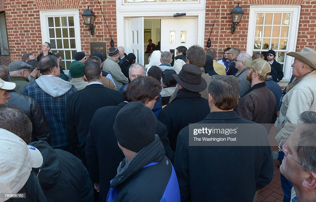 Hundreds of gun advocates are stopped from entering the Senate office complex after it became too crowded while the Judicial Proceedings Committee holds a hearing on Senate Bill 281- Firearm Safety Act of 2013 in the Senate office buildings on February 6, 2013 in Washington, DC