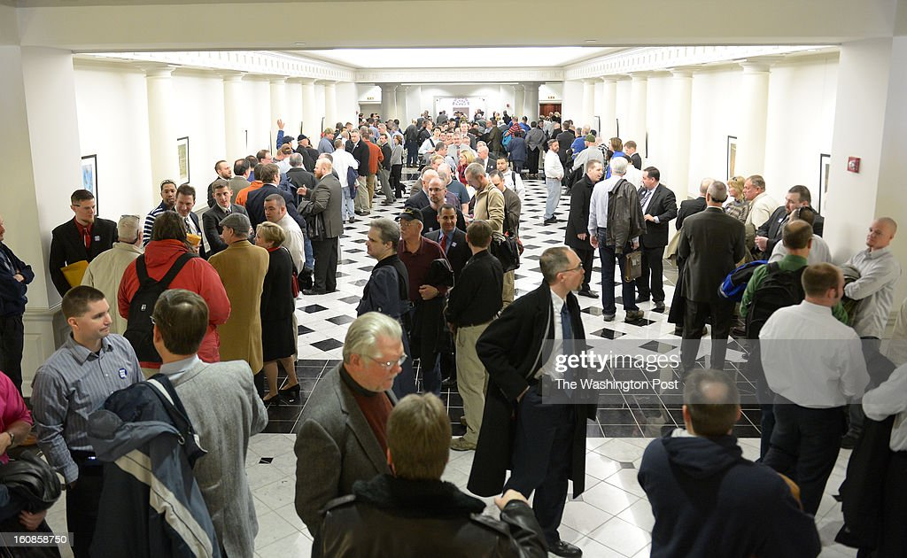 Hundreds of Gun advocates wait in line in hopes of getting into the Judicial Proceedings Committee hearing on Senate Bill 281- Firearm Safety Act of 2013 in the Maryland Senate office buildings on February 6, 2013 in Washington, DC