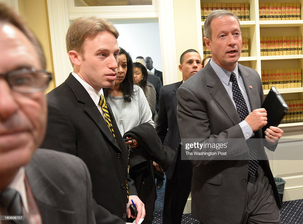 Maryland Gov. Martin O'Malley enters the Judicial Proceedings Committee hearing on Senate Bill 281- Firearm Safety Act of 2013 in the Senate office buildings on February 6, 2013 in Washington, DC
