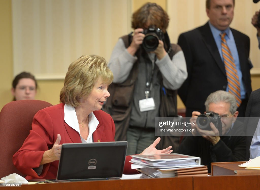 Maryland Sen Nancy Jacobs asks questions during the Judicial Proceedings Committee hearing on Senate Bill 281- Firearm Safety Act of 2013 in the Senate office buildings on February 6, 2013 in Washington, DC