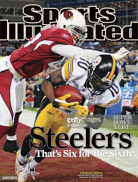 February 9 2009 Sports Illustrated Cover Football Super Bowl XLIII Pittsburgh Steelers Santonio Holmes in action making game winning catch of...