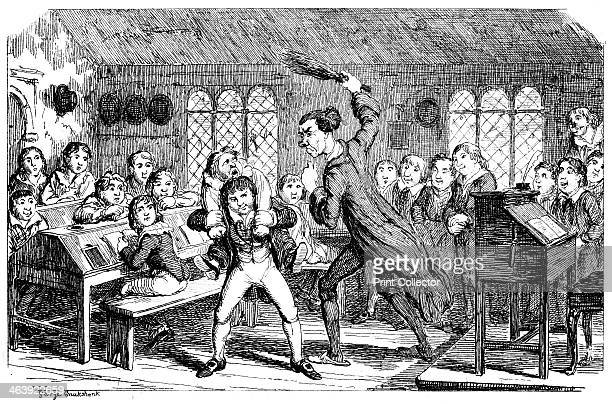 February Cutting Weather' 1839 A typical day at Dr Swishtail's Academy Boys at their desks look on as the schoolmaster punishes a boy by flogging him...