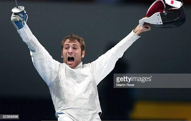 Fechten Olympische Spiele Athen 2004 Athen Florett / Mannschaft / Maenner Finale / CHN ITA Simone VANNI / ITA / Gold 210804