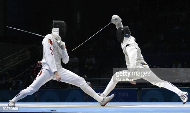 Fechten Olympische Spiele Athen 2004 Athen Florett / Mannschaft / Maenner Finale ITA / CHN Hanxiong WU / CHN Simione VANNI / ITA 210804