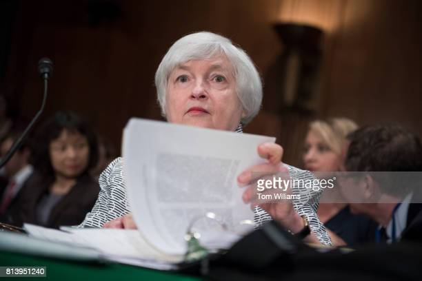 Fed Chair Janet Yellen prepares to testify before a Senate Banking Housing and Urban Affairs Committee hearing titled 'The Semiannual Monetary Policy...