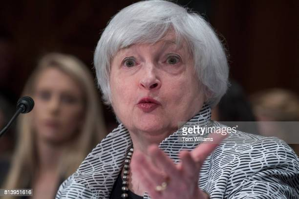 Fed Chair Janet Yellen testifies before a Senate Banking Housing and Urban Affairs Committee hearing titled 'The Semiannual Monetary Policy Report to...