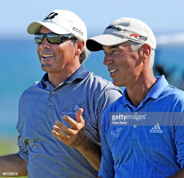 Fed Couples left and Corey Pavin right walk up the 18th fairway during the final round of The Cap Cana Championship on March 28 2010 on the Jack...