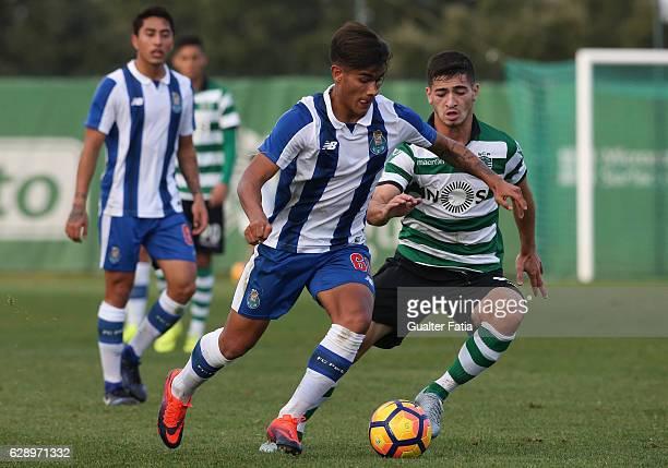 Fede Varela of FC Porto B with Budag Nasyrov of Sporting CP B in action during the Segunda Liga match between Sporting CP B and FC Porto B at CGD...