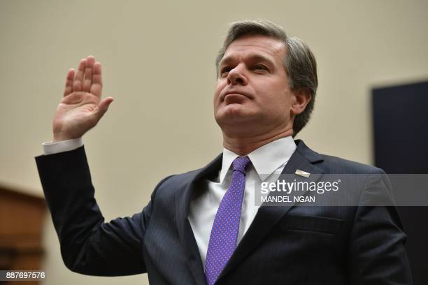 Federal Bureau of Investigation Director Christopher Wray adresses the House of Representatives Judiciary Committee on December 07 2017 in Washington...