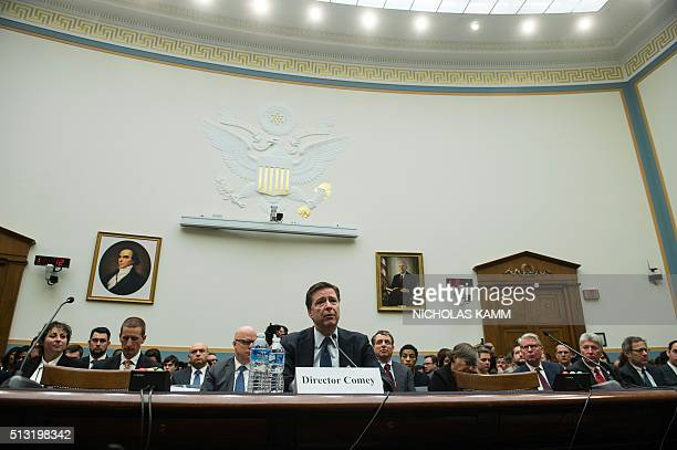 Federal Bureau of Investigation director James Comey testifies before the House Judiciary Committee on the encryption of the iPhone belonging to one...