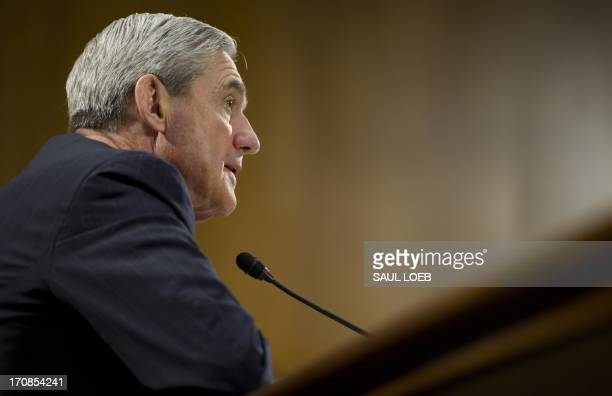 Federal Bureau of Investigation Director Robert Mueller testifies before the US Senate Judiciary Committee on oversight during a hearing on Capitol...