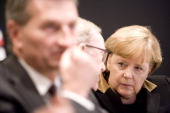 Federal Chancellor Angela Merkel talking with Wilfried Martnes the President of the European Peoples Party in the front EUCommissioner Guenther...