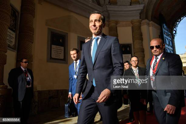 Federal Chancellor of Austria Christian Kern arrives at the Malta Informal Summit on February 3 2017 in Valletta Malta Theresa May attends an...