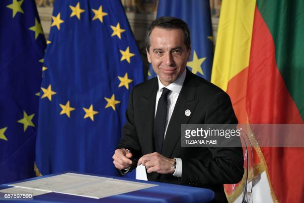 Federal Chancellor of Austria Christian Kern signs the new Rome declaration with leaders of 27 European Union countries special during a summit of EU...