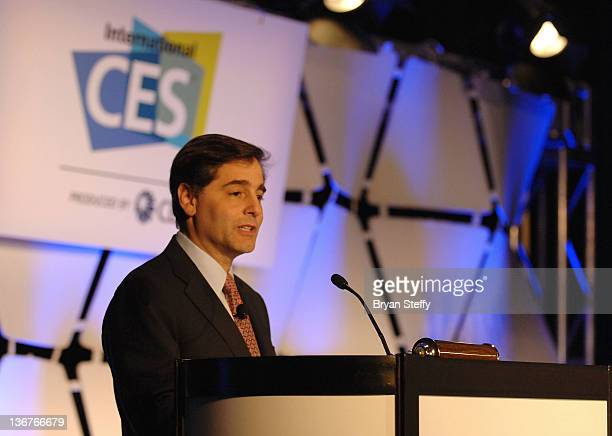 Federal Communications Commission Chairman Julius Genachowski speaks onstage at The 2012 International CES at Las Vegas Convention Center on January...