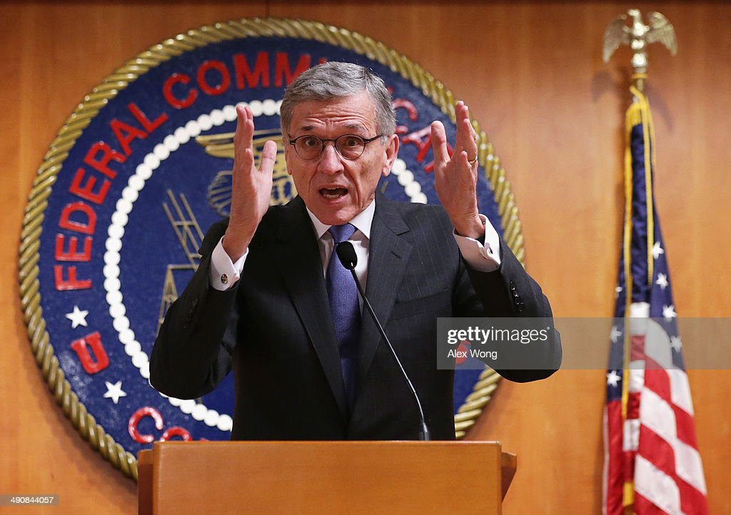 Federal Communications Commission (FCC) Chairman Tom Wheeler speaks during a news conference after an open meeting to receive public comment on proposed open Internet notice of proposed rulemaking and spectrum auctions May 15, 2014 at the FCC headquarters in Washington, DC. The FCC has voted in favor of a proposal to reform net neutrality and could allow Internet service providers to charge for faster and higher-quality service.