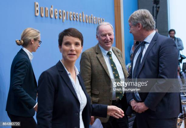 Federal elections 2017 Federal press conference the day after the election Alice Weidel Frauke Petry Alexander Gauland and Joerg Meuthen Alternative...