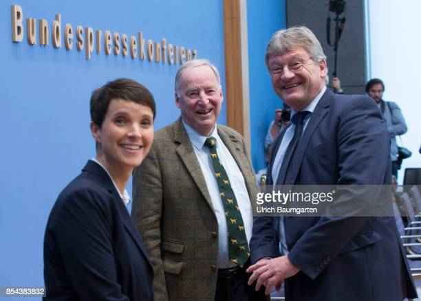 Federal elections 2017 Federal press conference the day after the election Frauke Petry Alexander Gauland and Joerg Meuthen Alternative for Germany