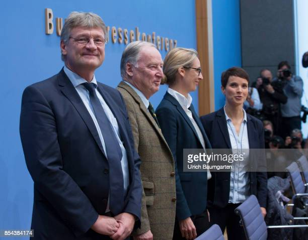 Federal elections 2017 Federal press conference the day after the election Joerg Meuthen Alexander Gauland Alice Weidel and Frauke Petry Alternative...