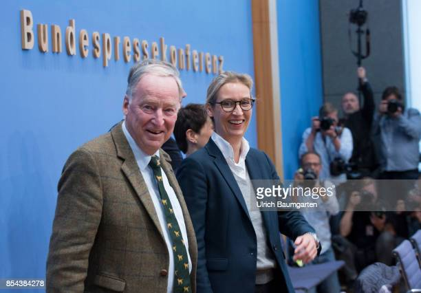 Federal elections 2017 Federal press conference the day after the election Alexander Gauland and Alice Weidel Alternative for Germany