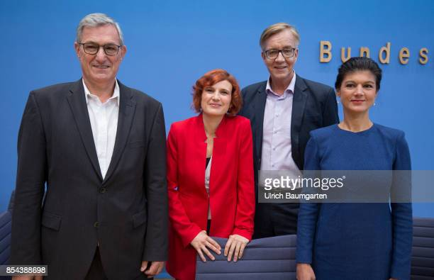 Federal elections 2017 Federal press conference the day after the election The leader of the party The Left Bernd Riexinger Katja Kipping Dietmar...