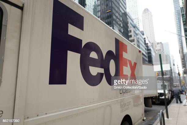 Federal Express truck with logo parked on Madison Avenue in Manhattan New York City New York September 14 2017
