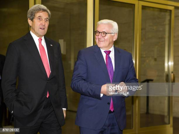 Federal Foreign Minister FrankWalter Steinmeier gives the outgoing US Secretary of State John Kerry the Grand Cross on 5 December 2016 a ceremony at...